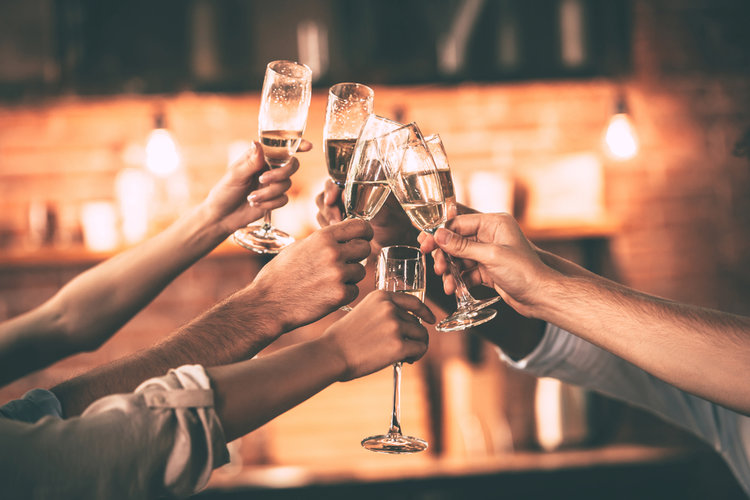 champagne cheers in community center